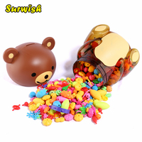 500Pcs Plastic DIY Pope Beads Toy Girls Necklace Bracelet Making Craft Kit For Kids Random Color
