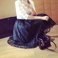 Retro Women Double Layer Maxi Skirt Flower Lace Party Long Elastic Waist Skirt