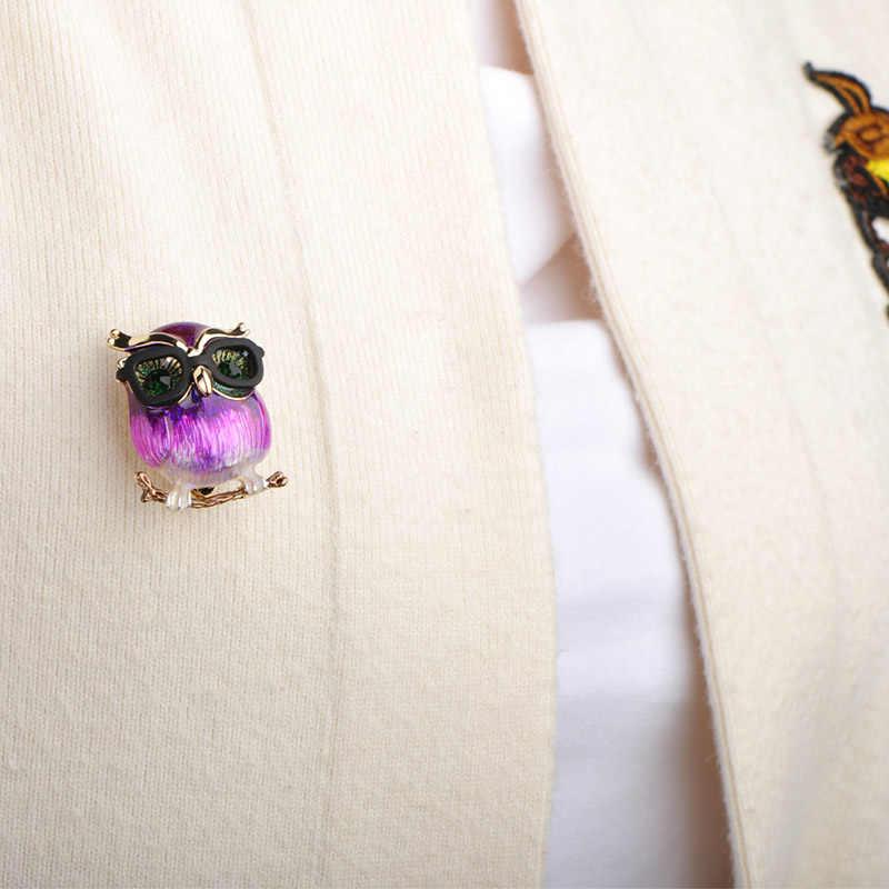 Blucome Nuovo Stile Viola Pappagallo Spilla Grande Pancia Del Gufo Spille Per I Regali Per Bambini Del Vestito Maglione Collo Pinze Oro-colore spilli Gioielli