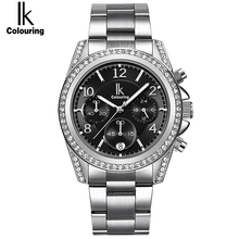 IK colouring Luxurious Rose Gold Girls's watches Chronograph Sub Dial Full Metal Rhinestone Vogue Gown Girl's Gown clcok