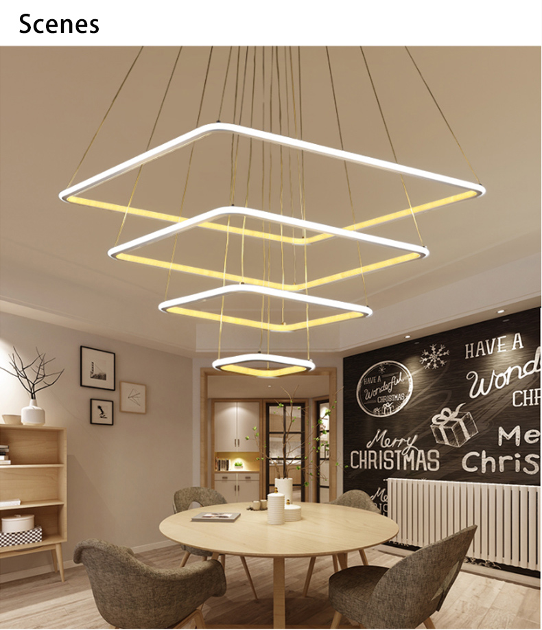4 Rings New Modern LED Chandelier Living Room Dining Lampadario Moderno Luster Lamp AC85 265V
