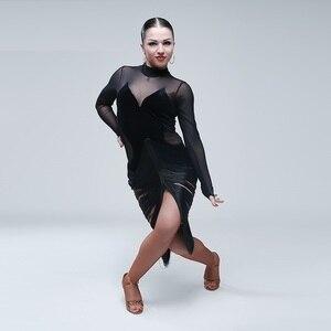 Image 3 - Sexy latin kleider für tanzen frauen latin dance kleid quaste dance kostüme für pole dance kleidung body party kleid jazz