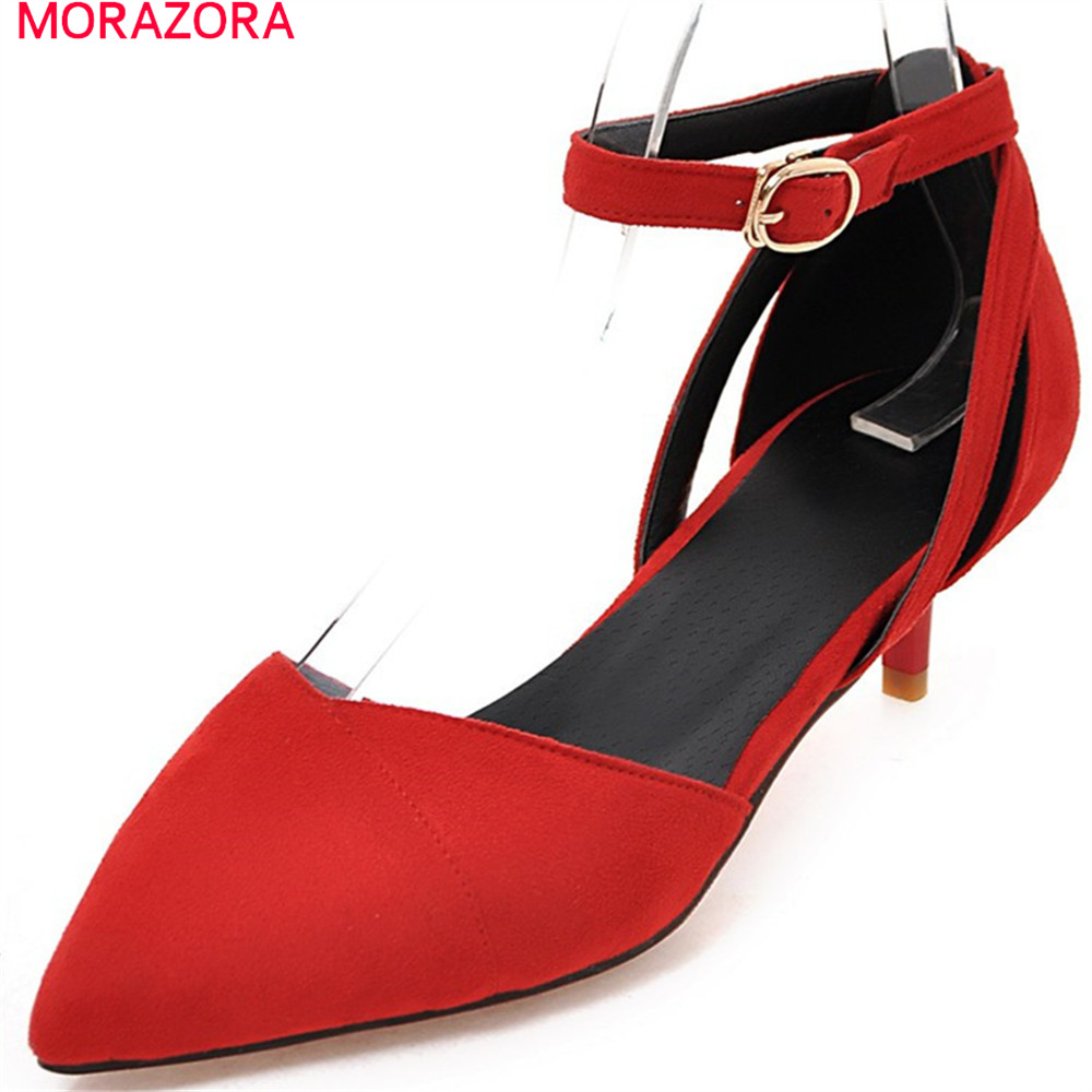 MORAZORA 2018 pointed toe sexy pumps women shoes med heels with buckle flock thin heel wedding party shoes ladies shoes moonmeek new arrive spring summer female pumps high heels pointed toe thin heel shallow party wedding flock pumps women shoes