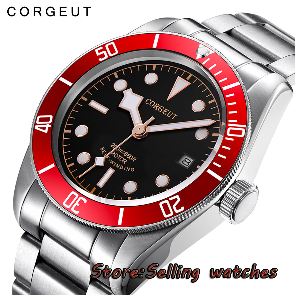 лучшая цена 41mm corgeut black dial red bezel Sapphire 12 jewels miyota automatic mens Watch