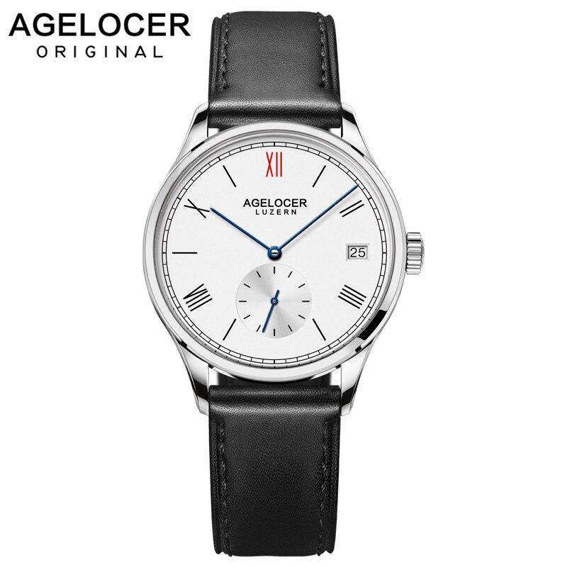 Agelocer Swiss Brand Women Bracelet Watch Automatic France Leather Strap 36mm Ladies Wrist Watch Switzerland Original Watches