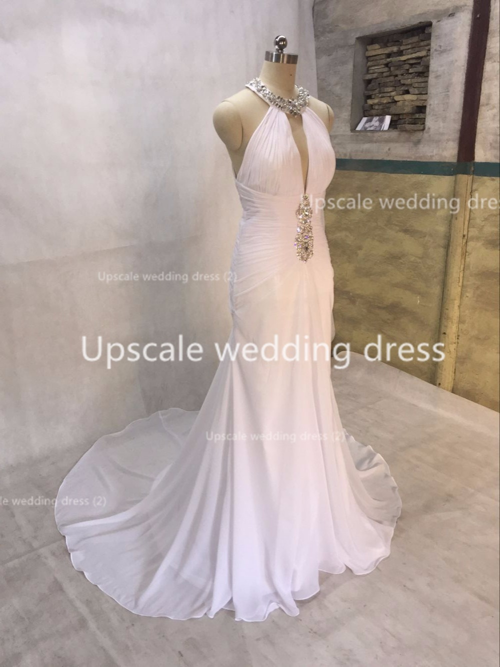 Sparkling Halter Mermaid beach wedding dresses V neck White Chiffon ...