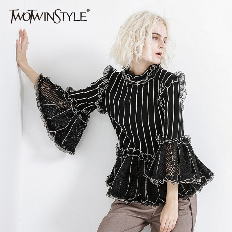 TWOTWINSTYLE Striped Ruffles Blouse Tops Female Stand Collar Flare Sleeve Patchwork Mesh Hollow Out Knitting White