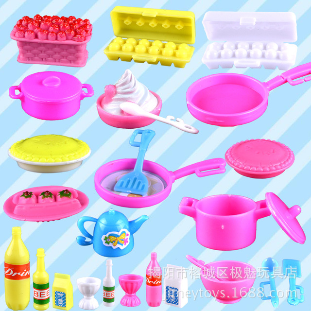 Case For Barbie Doll Accessory Toys Simulation Kitchen Set Cooking