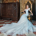 Robe De Marie Sweetheart Cap Sleeve Mermaid Tulle Wedding Dresses With Long Chapel Train Vestidos De Novia Bridal Gowns