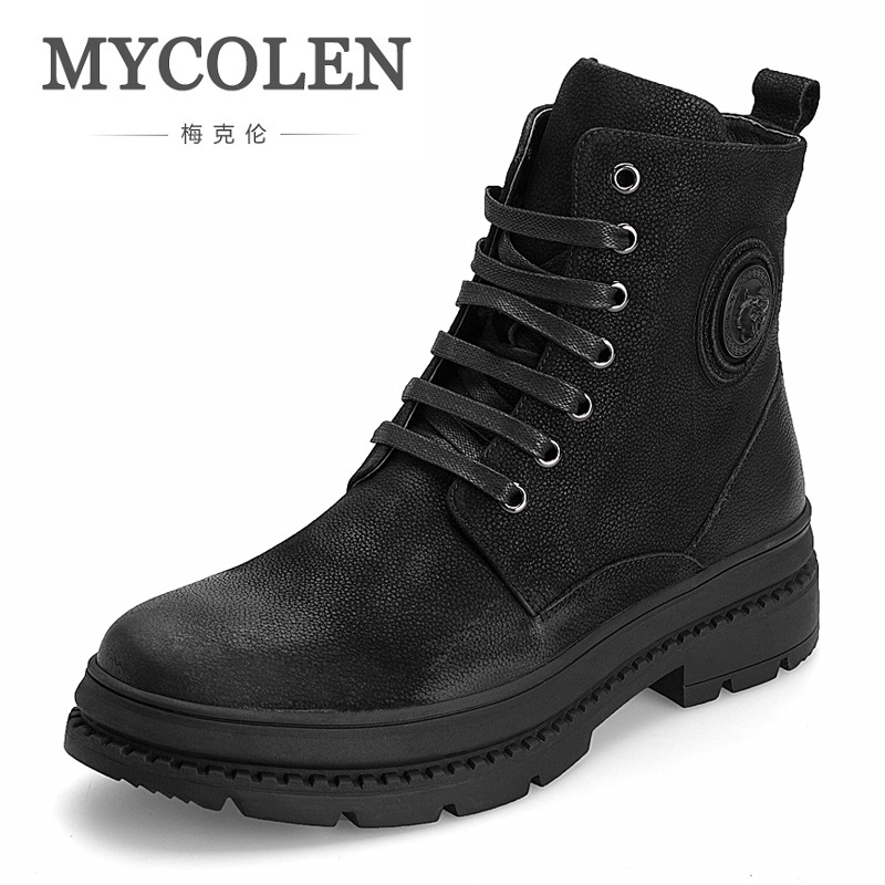 MYCOLEN Genuine Leather Ankle Boots For Winter Shoes With Fur Fashion Casual Ultralight Comfortable Martin Boots Erkek Bot ...