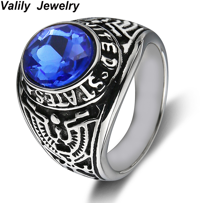 Valily Jewelry Men Ring Balck United States Army Ring