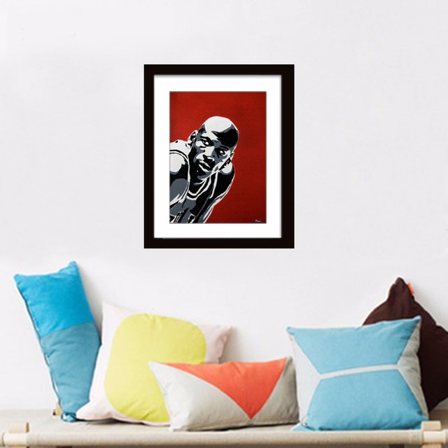 Michael jordan cartaz abstracto dos desenhos animados pintura de parede quadros da arte da lona cuadros decoracion meninos crianças quarto decoração