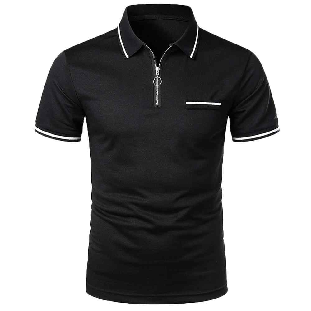 Fashion Mens Solid Personality Shirt Short Sleeve Casual Polo Top Blouse Breathable Polo Shirt For Men Desiger Quick dry