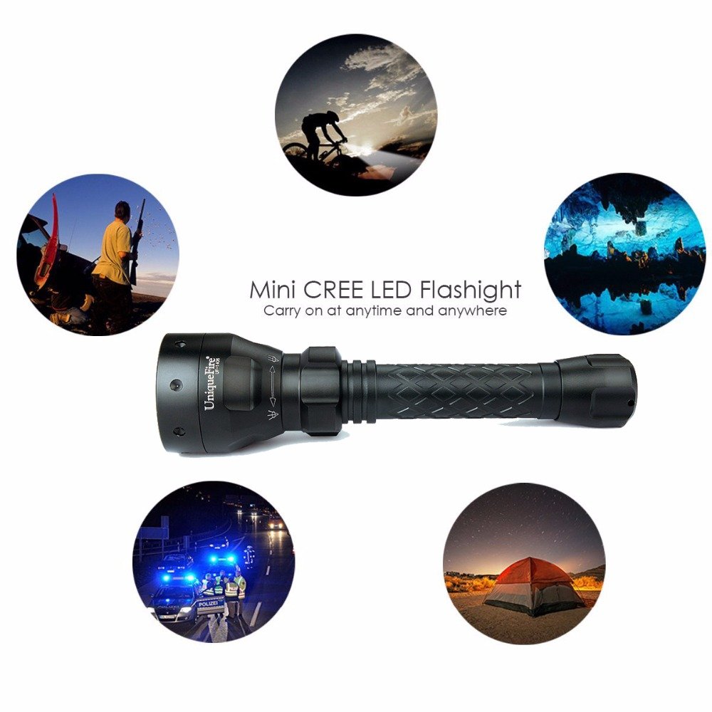 UniqueFire Rechargeable LED Flashlight 1406 Cree XPG Flashlights Power Camping Emergency Light Indoor Outdoor Aluminum Body