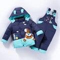 Детские мальчиков Зимнее пальто и куртки набор Вниз Проложенный Парки для Девочек Снег Верхняя Одежда Дети Теплая Одежда набор