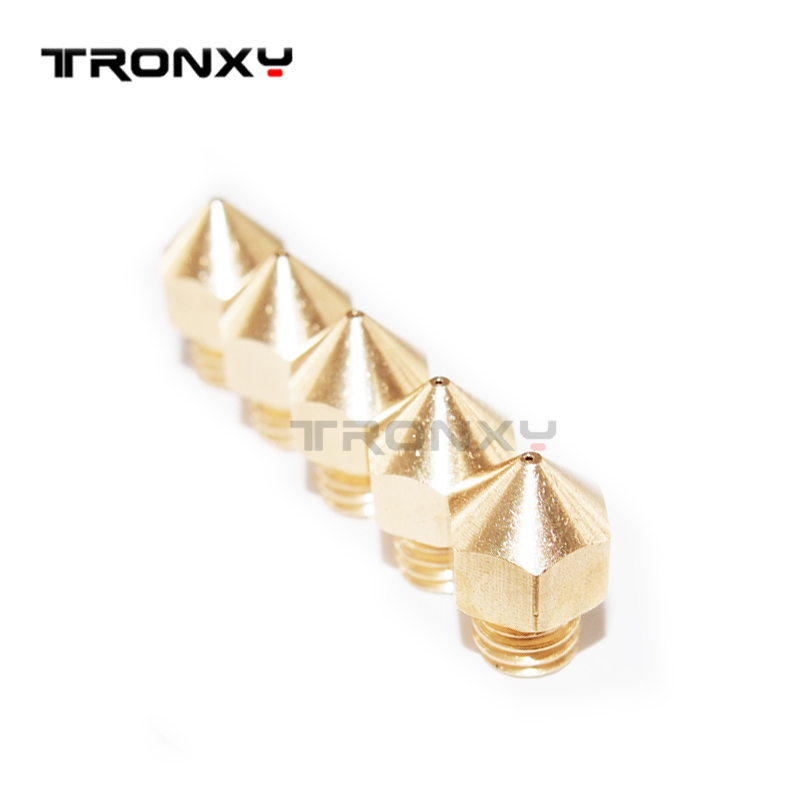 5pcs/lot 3D printer MK8 nozzle tronxy P802M P802E X3A X1 extruder size 0.2mm 0.3mm 0.4mm 0.5mm for choice free ship