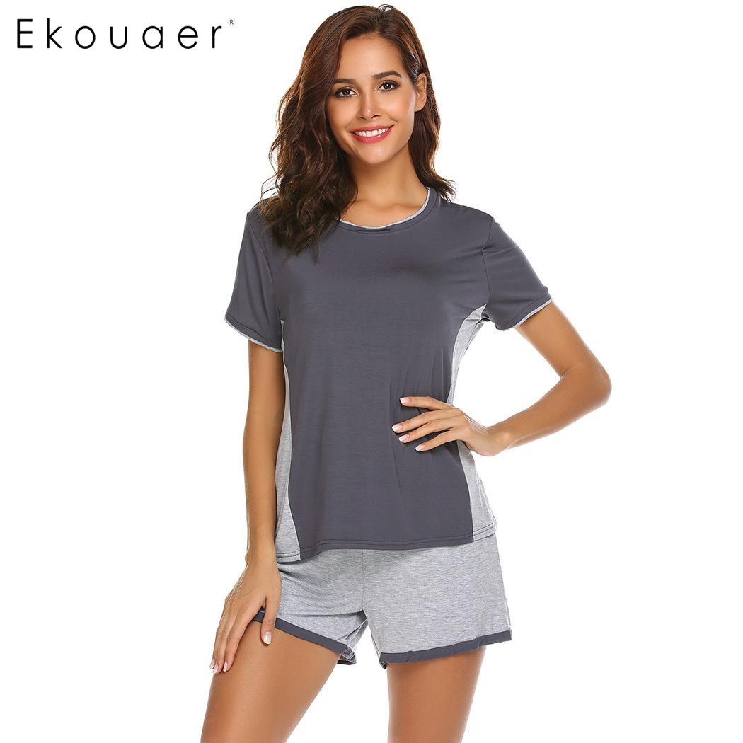 Ekouaer Women Sleepwear   Set   O-Neck Short Sleeve Soft Nightwear Patchwork Loose T-Shirt Pants   Pajama     Sets   Home Clothing Suit