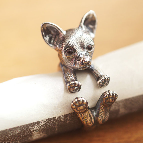 Wholesale Vintage Adjustable Chihuahua Ring High Quality Brand Designer Sculpted Resting Black Men Chihuahua Rings Women Jewelry