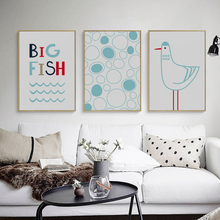 Mediterranean Small Fresh Simple Sea Fish Seagull A4 Canvas Painting Art Print Poster Picture Wall Paintings Home Decor