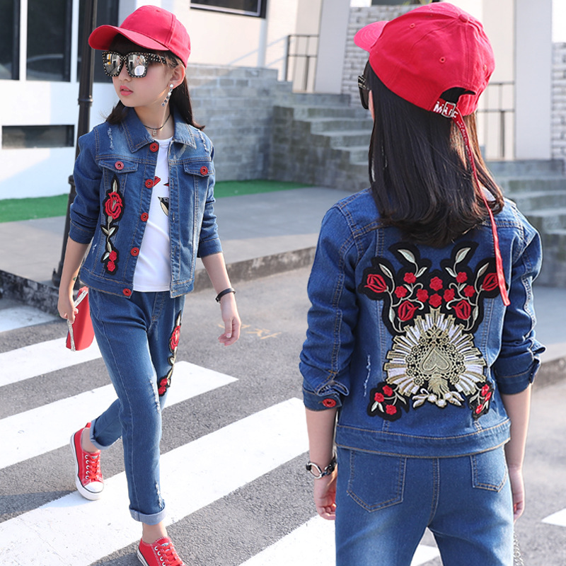 2018 Spring School Girls Denim Clothing Set Jean Jacket+Denim Pants Jeans 2pcs Children Girls Denim Suit Kids Clothing Set men s cowboy jeans fashion blue jeans pant men plus sizes regular slim fit denim jean pants male high quality brand jeans