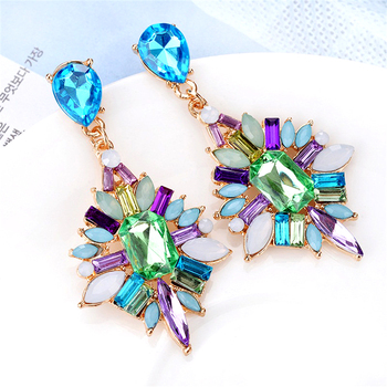 Ethnic Handmade Multi Color Rhinestones Crystal Flower Drop Earrings for Women Wedding Party Fashion Statement Earrings.jpg 350x350 - Ethnic Handmade Multi Color Rhinestones Crystal Flower Drop Earrings for Women Wedding Party Fashion Statement Earrings Jewelry