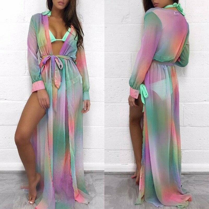 2021 Deep V Maxi Beach Dress Swimwear Women Beach Cover Up Cardigan Swimwear Bikini Cover ups Robe Sarong Kimono Kaftan Dress