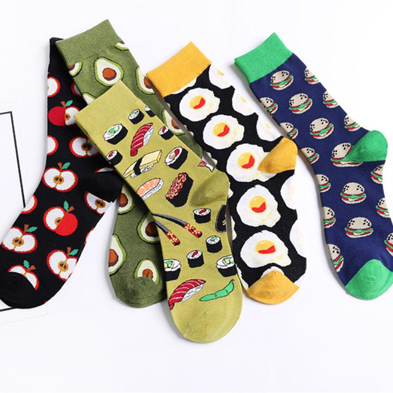 Avocado omelet Burger Sushi Apple Fruit Plant Food Short   Socks   Fun Cotton For Winter For Unisex Men Happy   Socks   Women