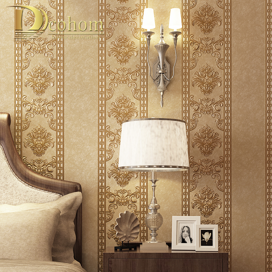 Luxury European Striped Damask Wallpaper 3D Non Woven Wallpaper For Bedroom Living Room Dining Room Decor Wall Paper Rolls beibehang european garden flowers non woven glossy stylish damask wallpaper roll for living room luxury wall paper for bedroom