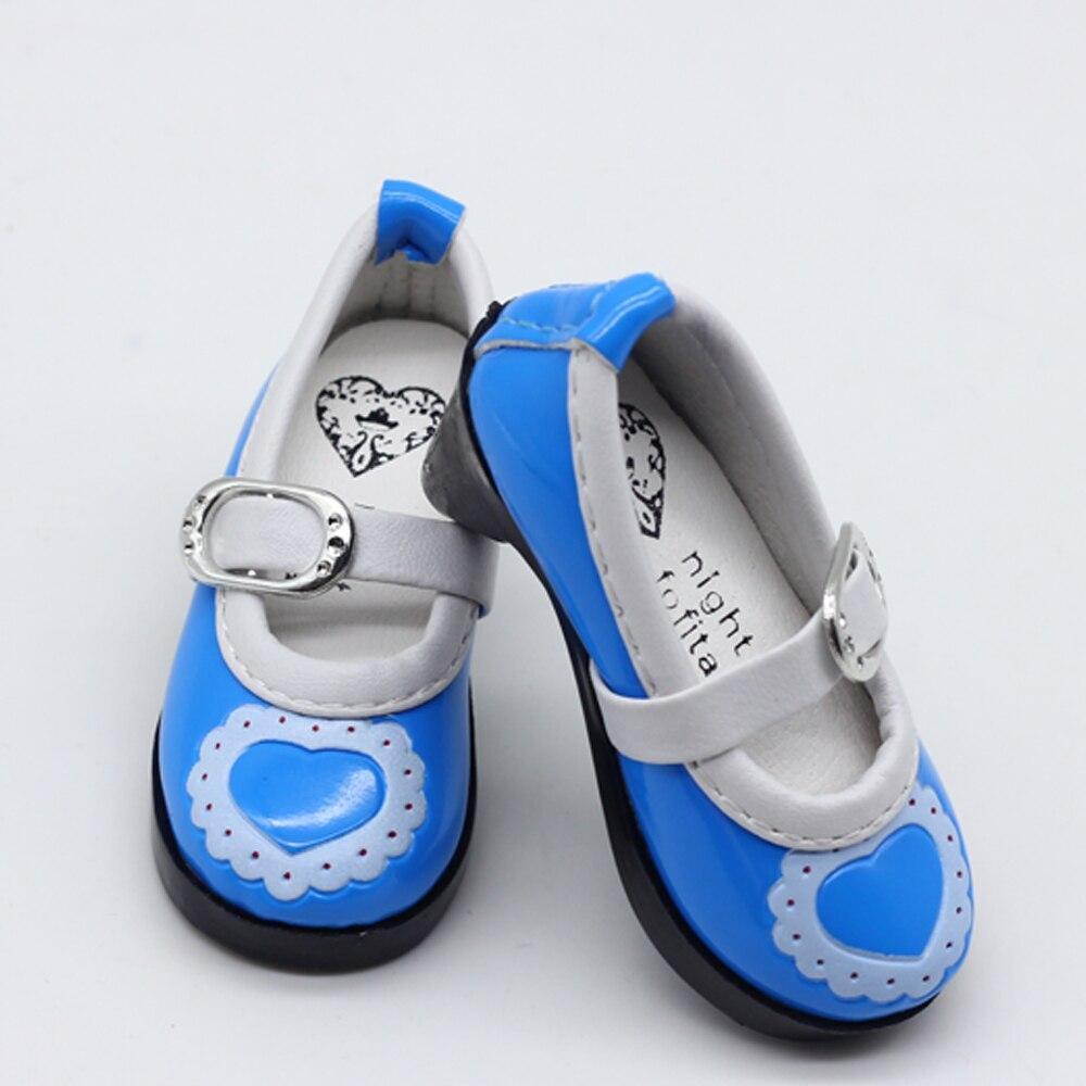 Pembe Mavi Siyah 1 ADET PU Deri Kalp Ayakkabı BJD SD DOD doll Fit - Bebekler ve Aksesuarlar - Fotoğraf 2