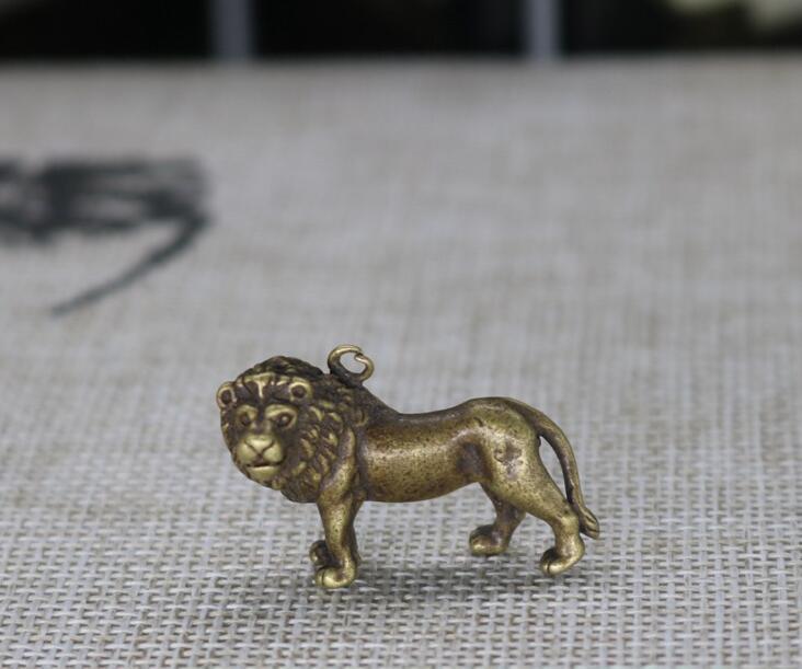 Chinês Pure bronze leão pequeno pingente