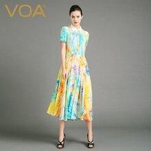 VOA2016 new fashion slim suit short runway silk dress big long skirt dressA6832