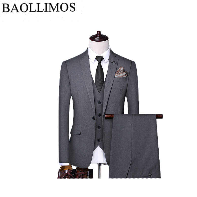 Dress Suit Men 2019 Slim Fit 3 Piece Groom Wedding Suits For Men Black Gray  Mens Business Suits High Quality Men suit