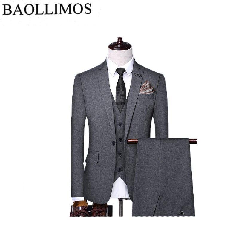 Dress Suit Men 2019 Slim Fit 3 Piece Groom Wedding Suits For Men Black Gray  Mens Business Suits High Quality Men Suit