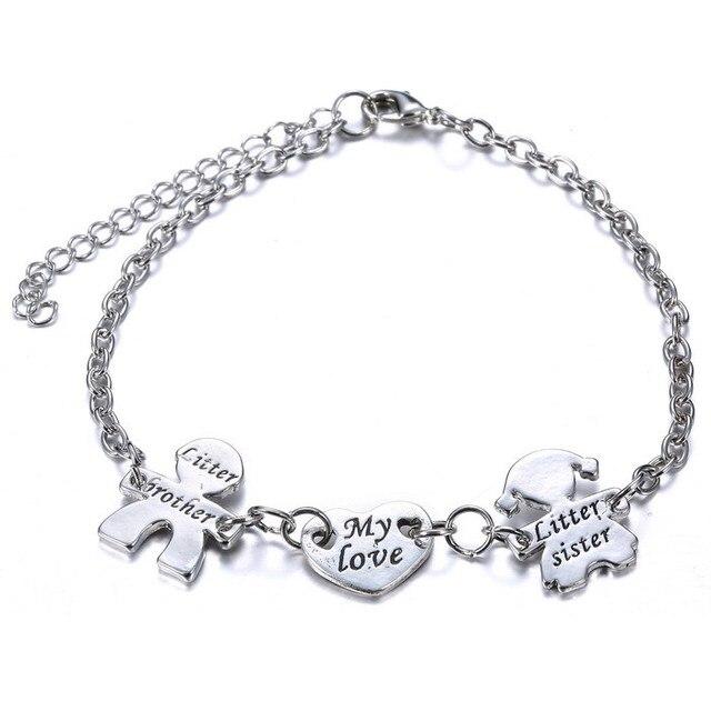 Mon Amour Avec Frère Sœur coeur bracelet réglable Lettres Femmes Charms Bracelets  Argent bracelet bracelets pour