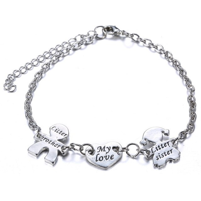 Three Charms Family Memebers Link Bracelets My Love With Brother Sister Heart Letters Engraved Silver Bangles