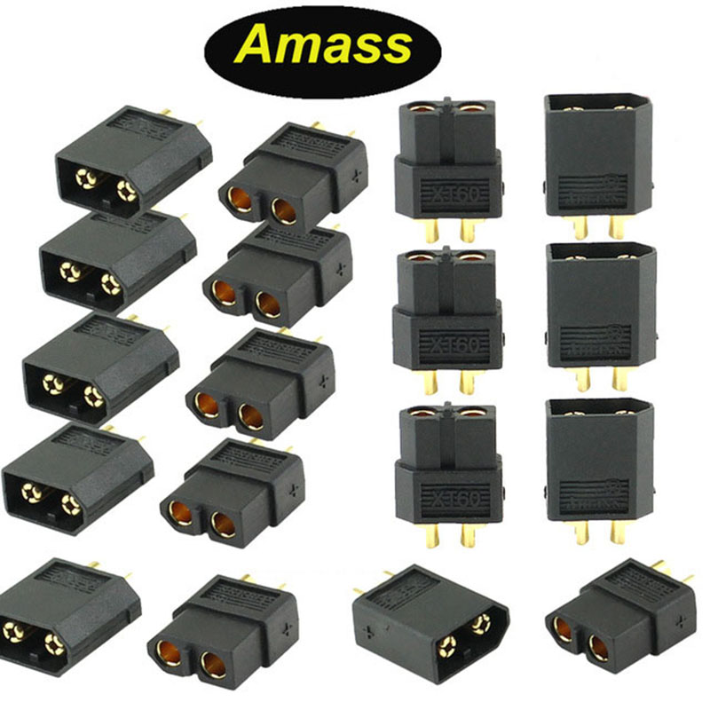 Amass RC Connector XT60 Male Female Bullet Connectors Power Plugs For RC Lipo Battery Black Yellow