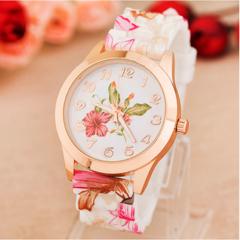 Excellent Quality Women Watches Reloj Rose Flower Print Silicone Floral Jelly Dress Watches Lady Girls Drop Shiping Wholesale
