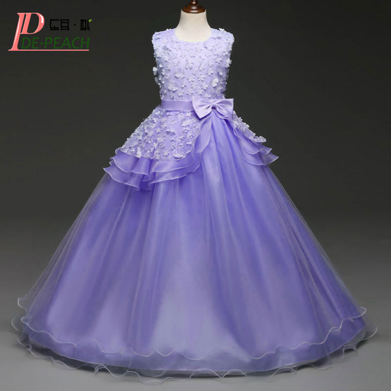 DE PEACH New 2018 Big Girls Wedding Dresses Flowers Princess Long Style Lace Dress Girl Party Costumes Teenager Children Vestido