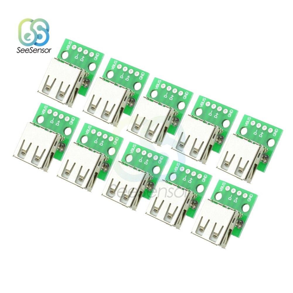 10 шт. тип A Женский USB для DIP 2,54 мм адаптер для печатной платы Конвертер Разъем для Arduino