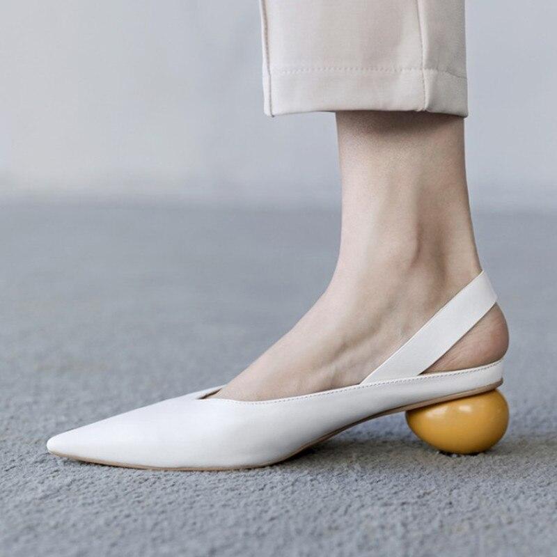 Marque Nouveau Bout Pointu Slingback Femmes Chaussures En Cuir Véritable Chaussures À Talons Hauts Femme Pompes Étrange Talon Chaussures Femmes