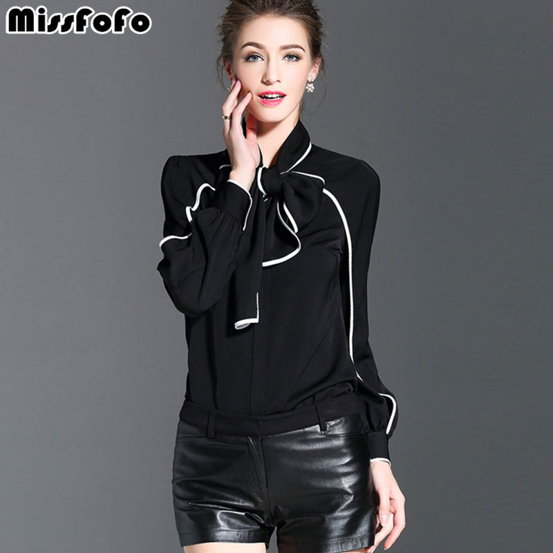 Miss FoFo 2018 New Fashion Body Shirt Women Shirt Casual Blouse Bow Bodysuit Full Office Lady