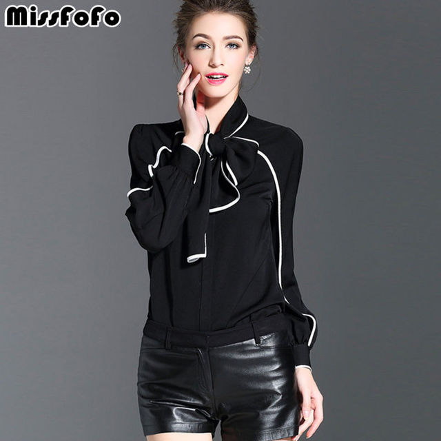 9b6a42fe4c Miss FoFo 2018 New Fashion Body Shirt Women Shirt Casual Blouse Bow  Bodysuit Full Office Lady Coat Blouse Black White Size S-XXL