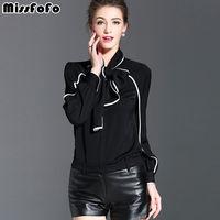 Senhorita FoFo 2017 de Moda de Nova Camisa Corpo Das Mulheres Camisa Casual Blusa arco Casaco de Senhora Do Escritório Blusa Bodysuit Completo Preto Branco Tamanho S-XXL