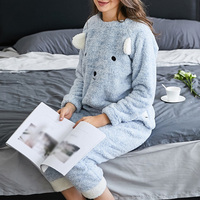 Women Pajama Sets Autumn winter Flannel Cartoon Warm Pyjamas Women Cute Casual Homewear Animal Sleepwear Cat female pajama XL