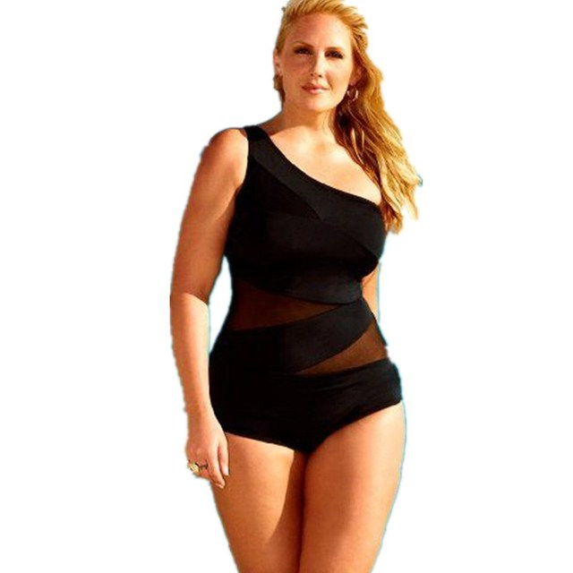 f126a7945b See Through Mesh Swimwear Plus Size One Piece Swimsuits One Shoulder Padded Push  Up Bodysuit Wrap Waist Black Bathing Suits 3XL