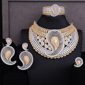 Image 2 - GODKI Luxe Water Drop 4 stuks Afrikaanse Cubic Zirkoon CZ Nigeriaanse Sieraden sets Voor Vrouwen Bruiloft Dubai Goud Bruids Sieraden set 2019
