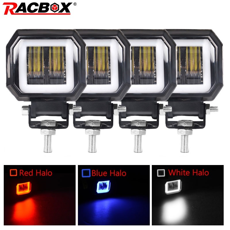 3 Inch 7D Lens LED Work Light Round Square Portable Spotlights Offroad Truck Driving Car Boat Motorcycle ATV 12V 24V Angle Eyes