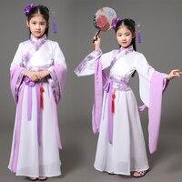 2017 Summer Kids Traditional Chinese Dance Costumes Children Girls Green Sleeve Fan Hanfu Dress Child Clothing