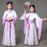 2017 Summer Kids Traditional Chinese Dance Costumes Children Girls Green Sleeve Fan Hanfu Dress Child Clothing