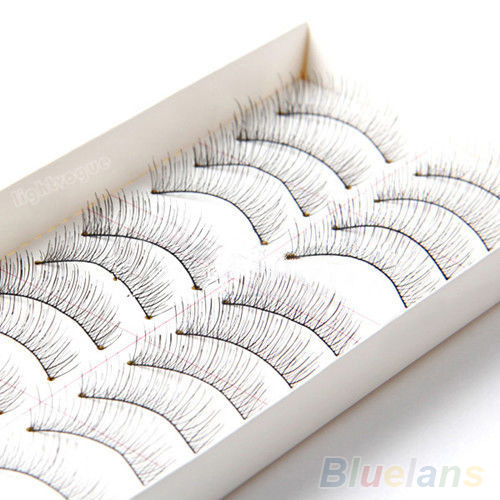 10 Pairs Soft Natural Cross Handmade Eye Lashes Makeup Extension False Eyelashes  1V6W